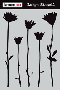 "Darkroom Door stencil - Wildflowers Large (9"" x 12"")"
