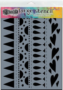 "Dylusions 9""x12"" stencil - Heart border"