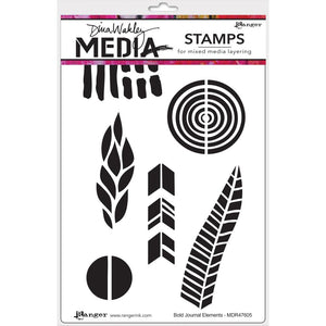 Dina Wakley cling stamp - Bold Journal Elements