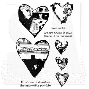 Dina Wakley cling stamp - Collaged Hearts