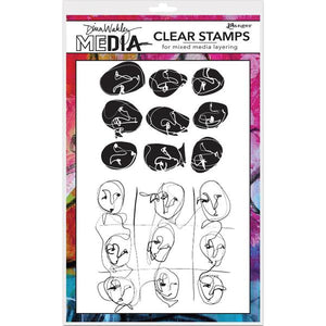 Dina Wakley cling stamp - Funky faces