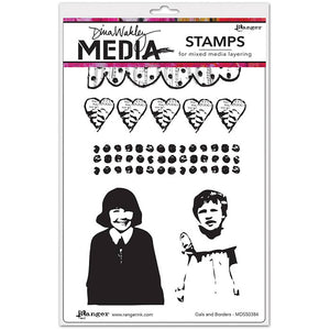 Dina Wakley cling stamp - Gals and Borders