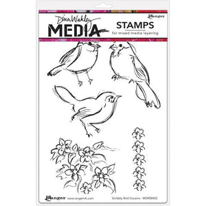 Dina Wakley cling stamp - Scribbly Bird Cousins