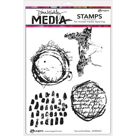 Dina Wakley cling stamp - Text and scribbles