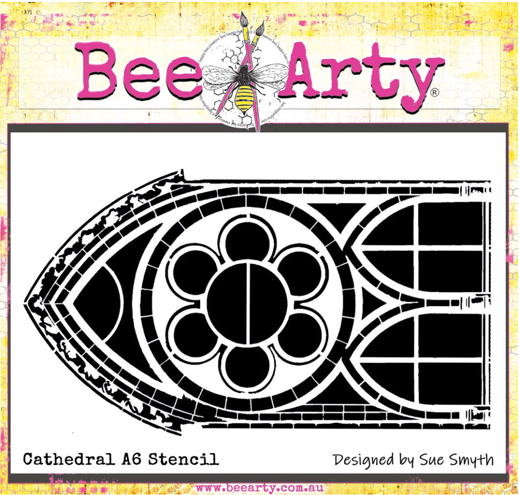 Colour Blast by Bee Arty A6 stencil - Cathedral