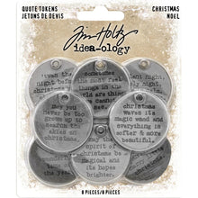 Tim Holtz - Idea-Ology  Christmas Metal Quote Tokens 8/Pkg