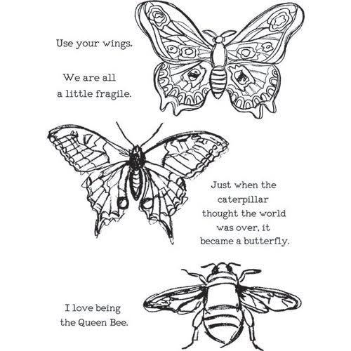 Dina Wakley cling stamp - Scribbly Insects