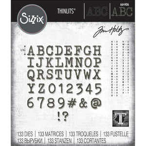 Tim Holtz Sizzix thinlits dies - Alphanumeric label Upper case