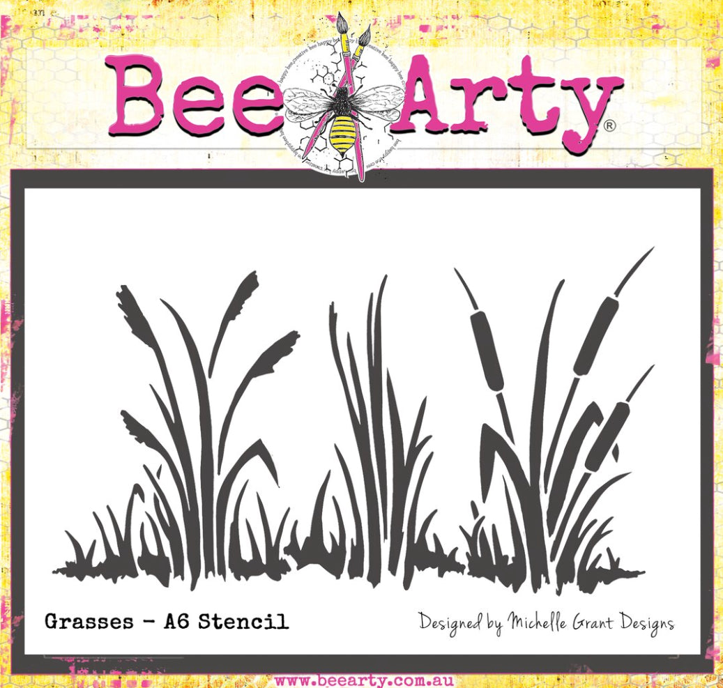 Colour Blast by Bee Arty A6 stencil - grasses