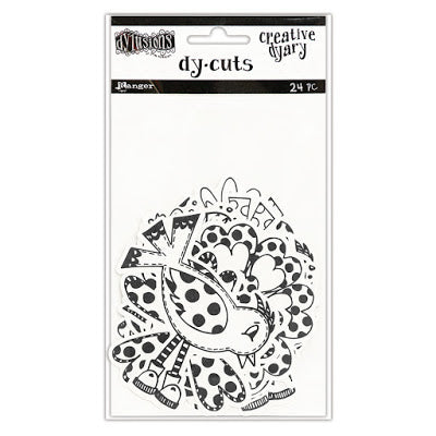 Dyan Reaveley's Dylusions Creative Dyary Dy Cuts - Flowers/Birds black and white