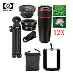 Cell Phone Camera Lens Kit:  Four Great Lenses 12X Zoom/Telescope, 180 Degree Fisheye, Wide Angle, Macro Photo Zoom Lens & Tripod (FREE SHIPPING)