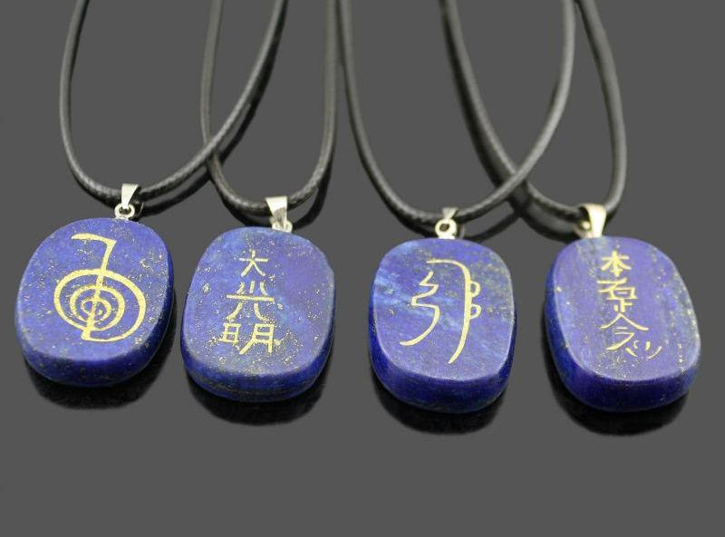 Reiki Symbols Pendant and Leather Cord (FREE SHIPPING)