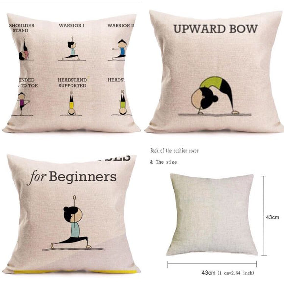 Yoga Poses Pillow Covers, 4 design