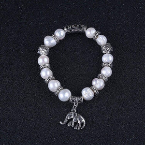 Fresh Water Pearls Bracelet, Elephant Charm