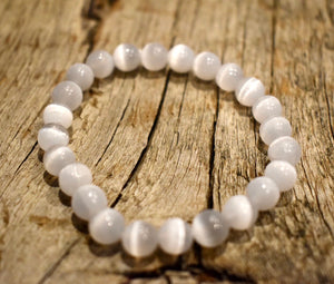 Natural WHITE SELENITE Single Stone Bracelet - grade A, 8mm Smooth Round Bead