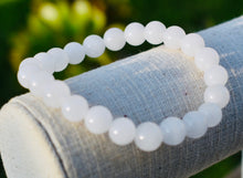 Load image into Gallery viewer, Natural White Chalcedony Round Beaded 8mm Bracelet