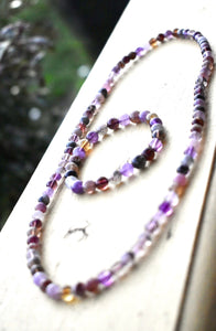 STUNNING NECKLACE AMETHYST CACOXENITE OR SUPER 7 A MUST TO HAVE!