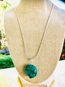 Turquoise Raw Stone Pendant Necklace, 925 Sterling Silver Chain