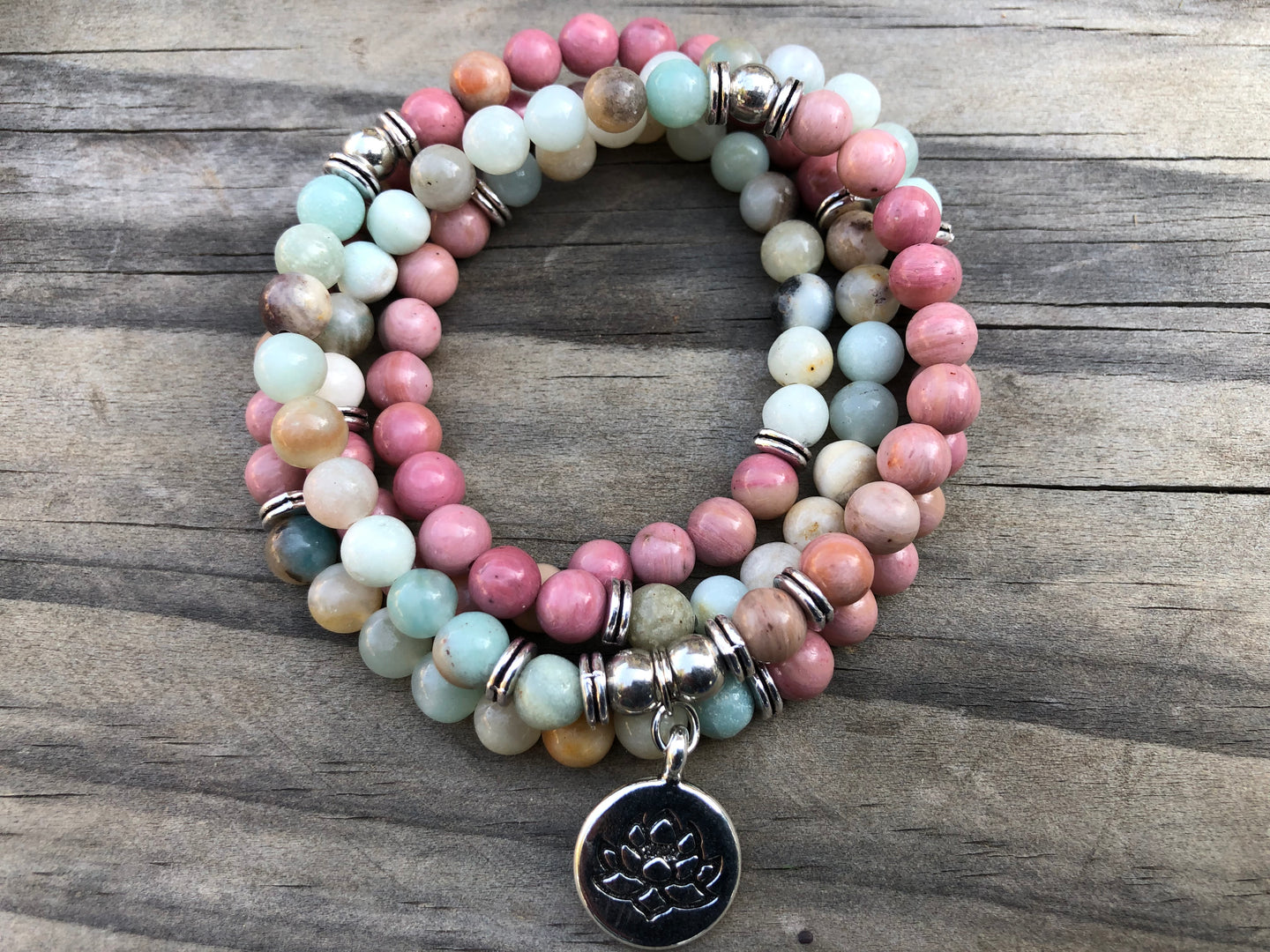 108 Mala 2 Gemstone  Bracelet or Necklace, mala beads 108 , Amazonite And Rhodochrosite