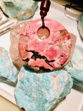 Load image into Gallery viewer, Rhodonite Big Donut Pendant Necklace