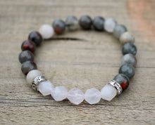 Load image into Gallery viewer, Labradorite and Diamond Cut White Agate Bracelet,  Perseverance-protection -Energy