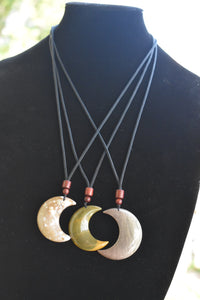 Petrified Wood and Ocean Jasper Pendants / Crescent Moon Unisex Natural Stone Necklace