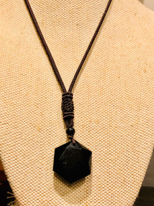 Beautiful Hexagonal Prism Obsidian Necklaces