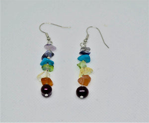 7 Chakras Real Gemstones Earring