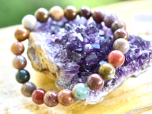 Load image into Gallery viewer, Unisex Multicolour Agate bracelet 8mm