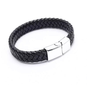UNISEX Braided Premium Soft Leather Cuff Bracelet Silver Steel  Clasp