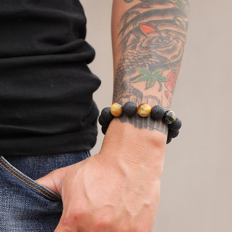 Tiger Eye and Lava Stone Men Bracelet