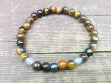 Load image into Gallery viewer, Mens Tigers Eye and Tibetan charms Gemstone Bracelet