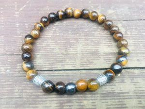 Mens Tigers Eye and Tibetan charms Gemstone Bracelet