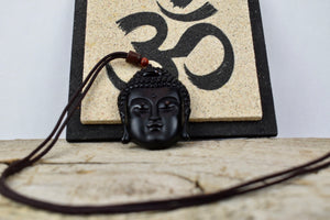 UNISEX NATURAL BLACK OBSIDIAN BUDDHA HEAD PENDANT NECKLACE