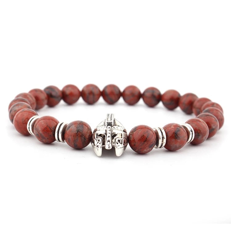 Red Jasper and Roman Knight Spartan Warrior Bracelet
