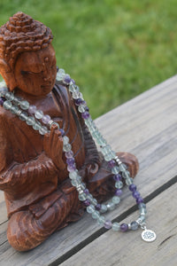 Fluorite gemstone mala necklace. Lotus Charm