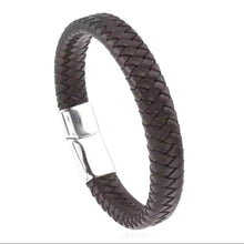 Load image into Gallery viewer, UNISEX Braided Premium Soft Leather Cuff Bracelet Silver Steel  Clasp