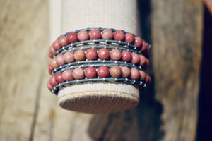 Woman Pink Boho Rhodonite Wrap Leather Bracelet