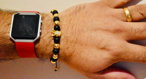 Royal Designs Gold Plated Black onyx and Hold Hematite Stones  Crown Bracelets