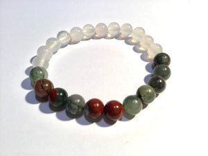 White Chalcedony and African Bloodstone Bracelet, harmony, courage and Purification