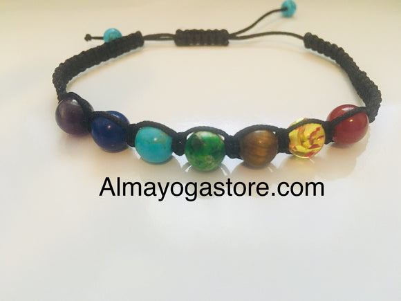 Seven Chakra Bracelet, Yoga Jewellery, Chakra Mala Prayer Beads, Spiritual Protection Gift, Healing Stones, Unique Gift for Her, Lava Stone