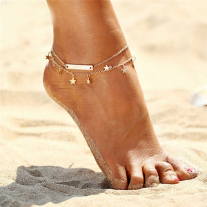 Anklets Boho style  Gold and Silver stars