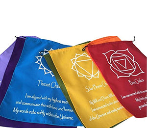 Large Seven Chakra Prayer Flags Banner Wall Hanging