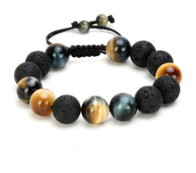 Load image into Gallery viewer, Tiger Eye and Lava Stone Men Bracelet