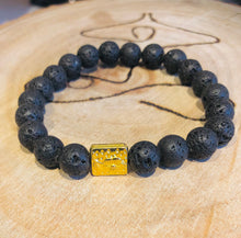Load image into Gallery viewer, LAVA ROCK 8MM HEALING BRACELET WITH GOLDEN SPACER