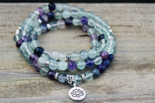 Load image into Gallery viewer, Fluorite gemstone mala necklace. Lotus Charm