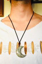 Load image into Gallery viewer, Petrified Wood and Ocean Jasper Pendants / Crescent Moon Unisex Natural Stone Necklace
