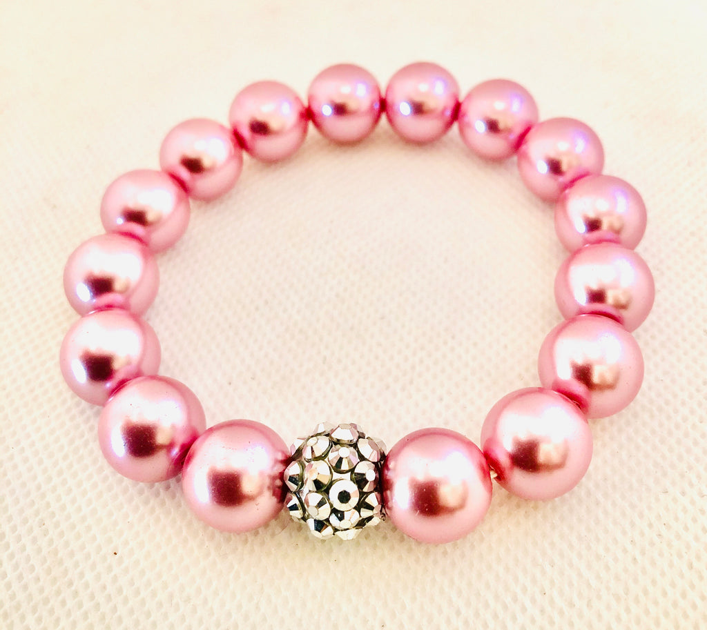 Pink Mother of Pearl stretch bracelet