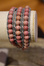 Load image into Gallery viewer, Woman Pink Boho Rhodonite Wrap Leather Bracelet