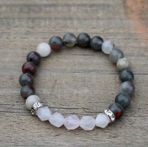 Labradorite and Diamond Cut White Agate Bracelet,  Perseverance-protection -Energy